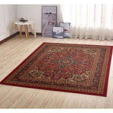 ottohome collection traditional persian all over pattern design dark red 5 ft x 7