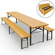 deuba table bench set wooden trestle