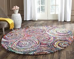 safavieh nantucket collection nan514a handmade abstract circles multicolored cotton round area rug 4