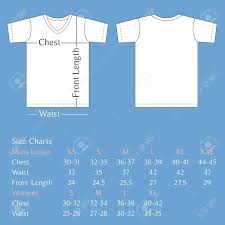 Vector T Shirt Template Back And Front With Size Chart For Man