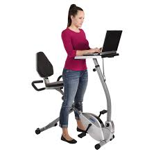 office exercise equipment. Stamina 2-in-1 Recumbent Exercise Bike Workstation And Standing Desk Office Equipment