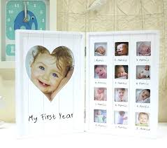 baby growth record wooden pendulum wall hanging creative photo frame months one year old frames 12
