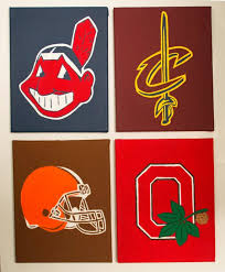 on cleveland sports teams wall art with cleveland sports teams canvas painting indians cavs browns etsy