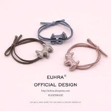 EUHRA 6 Colors Plush <b>Elastic</b> Hair Bands Two Bear's Head High ...