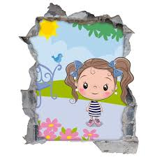Maybe you would like to learn more about one of these? Children S Vinyl Pretty Girl 3d Wall Hole