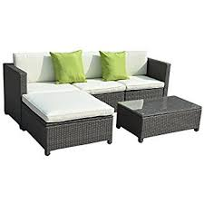 outdoor sofa furniture. tangkula 5pc outdoor patio sofa set sectional furniture pe wicker rattan deck couch brown