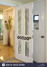 Etched Glass Double Entry Doors, Luxury Condo, FL, USA Stock Photo ...