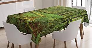 farm house decor tablecloth by ambesonne idyllic lush rainforest in canadian island with ferns moss