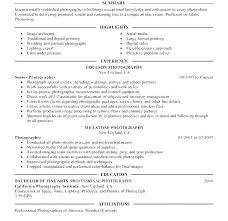 Freelance Photographer Resume Beauteous Photography Resume Examples Resume Examples For Photographer