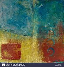 abstract painting with the colors red blue and gold