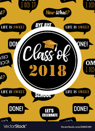 Class Party Invitation Graduation Class Of 2018 Party Invitation Poster Vector Image