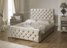brand new double cream silver crushed velvet bed set memory orthopaedic mattress free local deliv