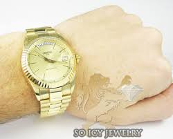 14k yellow gold geneve automatic watch mens 14k yellow gold geneve automatic watch