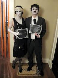 here s an easy one for men or women all you need is a black and white suit or dress if it s 1920 s style all the better some gray cream makeup and some