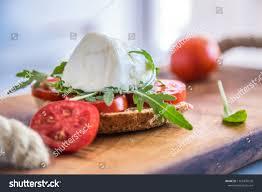 Light Mozzarella Cheese Nutrition Italian Style Toast Light Bread Arugula Stock Photo Edit