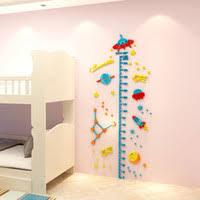 3d Ufo Rocket Height Measure Wall Sticker Baby Kids Rooms Growth Chart Nursery Room Decor Wall Art