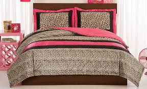 leopard full queen or twin comforter set with pink