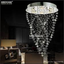 modern spiral crystal chandelier light fixture long crystal light lamp flush mounted stair light fitting for staircase villa glass chandeliers glass ball