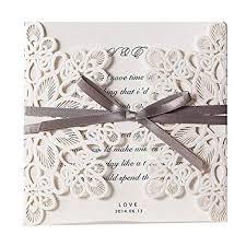 Elegant Invitation Cards Jofanza 50pcs Square Flower Lace Wedding Invitation Cards Kit Laser Cut Invitations With Envelopes Elegant Wedding Invites Bowknot Celebrate Marriage