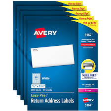 Avery 5167 Labels Amazon Com Avery Address Labels With Sure Feed For Laser Printers