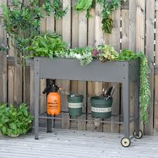 outsunny raised garden bed with wheels