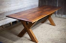 reclaimed wood x base table reclaimed wood farm table rh sonsofsawdust com x base table diy x base table diy