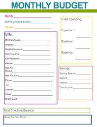 Monthly Spreadsheets Household Budgets Excel Templates Budget Bills