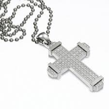 simmons jewelry co men s 3 4 ct t w diamond cross pendant in stainless
