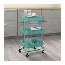 Image is loading Ikea-Raskog-Kitchen-Trolley -Turquoise-Castors-Shelves-Storage-