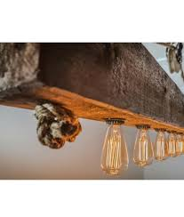 reclaimed wood chandelier rustic wood beam chandelier with edison bulbs rope and pulley