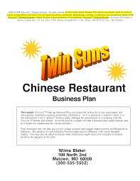 Restaurant Business Plan Sample Chinese Restaurant Business Plan Templates At