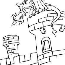 dragon pictures to color. Modren Dragon Dragon On A Castle Tower  With Pictures To Color L