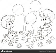 Piccoli Bambini Che Giocano Altalena Giocattolo Parco Giochi Bambini