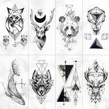 геометрия прохладный временные татуировки стикеры для женщин