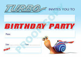 Children Birthday Invitations Details About Turbo Pack Of 10 Snail Kids Children Birthday Party Invitations