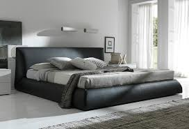 Black Leather Platform King Bed Frame With Headboard
