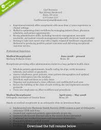 Sample Resume For Medical Receptionist Tomyumtumweb Com