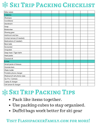 Packing For Vacation Lists The Complete Ski Trip Packing List Printable Download