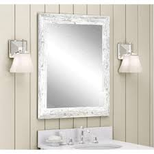 distressed rectangle white decorative wall mirror