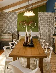 dining table candle holders dining room eclectic with bare bulb chandelier blue wal