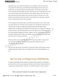 Short College Essay 2 My First Day At College Short And Long Essays The College