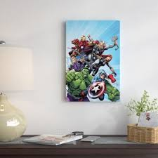 marvel avengers by marvel comics graphic art on wrapped canvas on marvel comics mural wall graphic with marvel canvas art wayfair ca