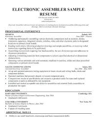 Medical Assembly Job Description For Resume Assembly Line Worker