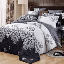 black and light grey meval pattern tribal print classic baroque style luxury persian themed 100 cotton damask full queen size bedding sets