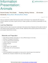 information presentation animals lesson plan com