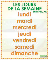 French Days Of The Week Days Of The Week In French Woodward French