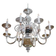 a eight 8 arm chandelier in hand blown clear glass newly wired for usa status for reference ad 4 9 9828 condition excellent year 2006 country