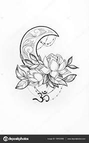 эскиз луна эскизы луна эскиз лотоса и луны на белом фоне