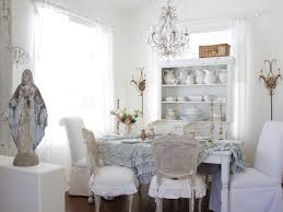 Chandelier Over Dining Room Table Lovely Shabby Chic Dining Room With A Wall Mirror And Chandelier