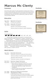 Assembly Technician Resume samples